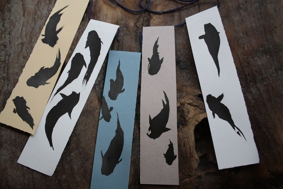 Dark Koi Ink Wash Drawings Paper Prayer Flag set
