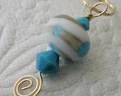 Turquoise and White LAMPWORK and SWAROVSKI Bead 14k Gold Fill OOAK Pendant