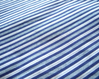 "Blue stripe cotton fabric, quilting fabric, patchwork fabric, half yard by 44"" wide, last piece"