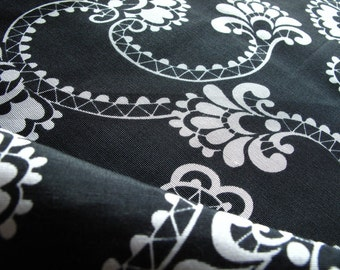"""silk fabric, Ribbed floral print silk cotton blend fabric, half yard by 44"""" wide"""