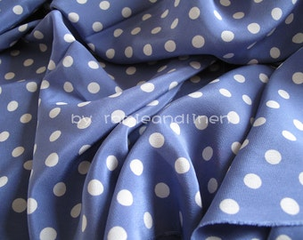 "100% Silk fabric, white polka dots on blue violet crepe de chine, pure silk fabric, last piece, 53"" by 45"" wide"