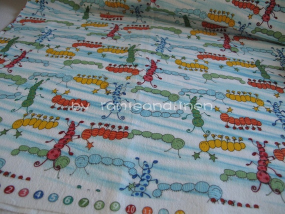 """cotton flannelette fabric, colorful caterpillars, quilting fabric, patchwork fabric, half yard by  42"""" wide, last piece"""