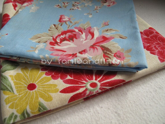 """retro floral print cotton fabric, pink Anna Sui roses on blue, 0.5 meter by 43"""", last piece"""
