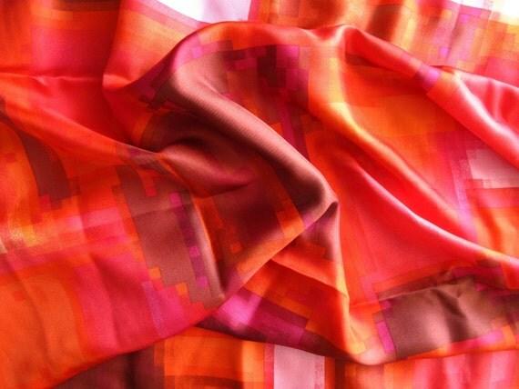 """silk fabric, red mosaic print, 100% silk twill, 2 yards by 43"""""""