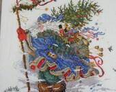 Santa In Blue Cross Stitch Framed