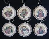 Christmas Angel Ornaments Cross Stitch Set of 6