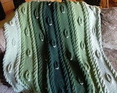 Green Leaves Knit Afghan