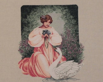 Lady and Swan Cross Stitched Picture