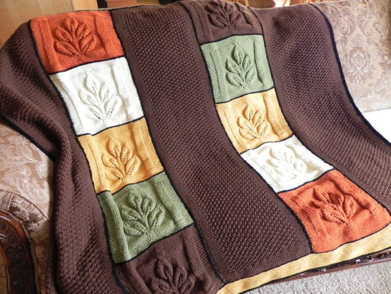 Autumn Leaves Knit Afghan