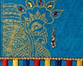 One of a Kind Handmade Blue Journal Notebook with Mehndi Indian Design