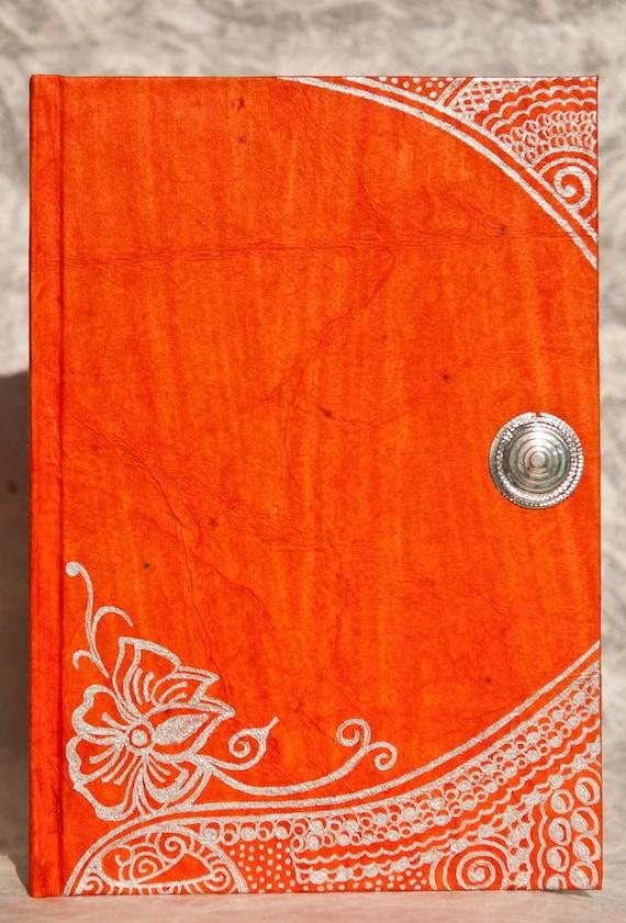 OOAK Handmade Journal, Orange Blank Notebook with Indian Designs