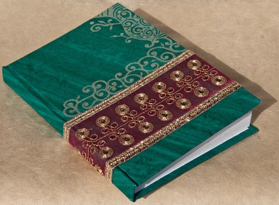 Green Handmade Journal - Mehndi Indian Design - Journal Notebook