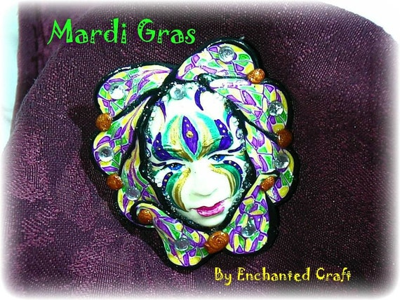 Hand sculpted polymer clay MARDI GRAS mask brooch or pin