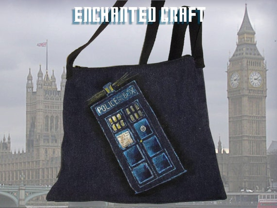 handmade & hand painted Dr. Who Tardis Upcycled Denim bag- perfect for Kindle, nook, small Tablet pc's