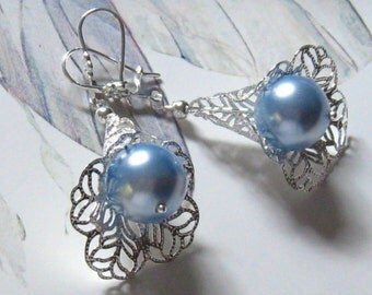 Blue Pearl Earrings:  Victorian Calla Lily and Light Blue Pearl Earrings, Bride Bridal Wedding Jewelry, Bridesmaids Gift, Something Blue