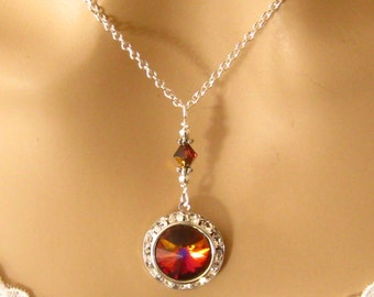 Red Crystal Bridesmaid Necklace Romantic Swarovski Volcano Red Crystal Pendant Necklace Prom Bride Bridal Wedding Jewelry, Bridesmaids Gift