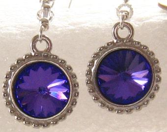 Purple Crystal Bridesmaids Earrings: Romantic Swarovski Rivoli Purple Crystal Earrings, Bridal Earrings, Wedding Jewelry, Bridesmaids Gift