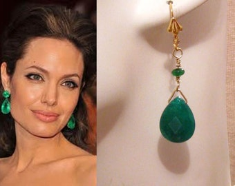 Emerald Green Earrings: Angelina Jolie Emerald Green Stone Earrings - St Patricks Day, Bridesmaids Gift, Gold, Mothers Day Gift