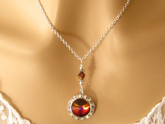 Red Swarovski Crystal Necklace: Romantic Elegant Red Crystal Pendant Necklace Sterling Silver, Prom Bridal Wedding Jewelry, Bridesmaids Gift