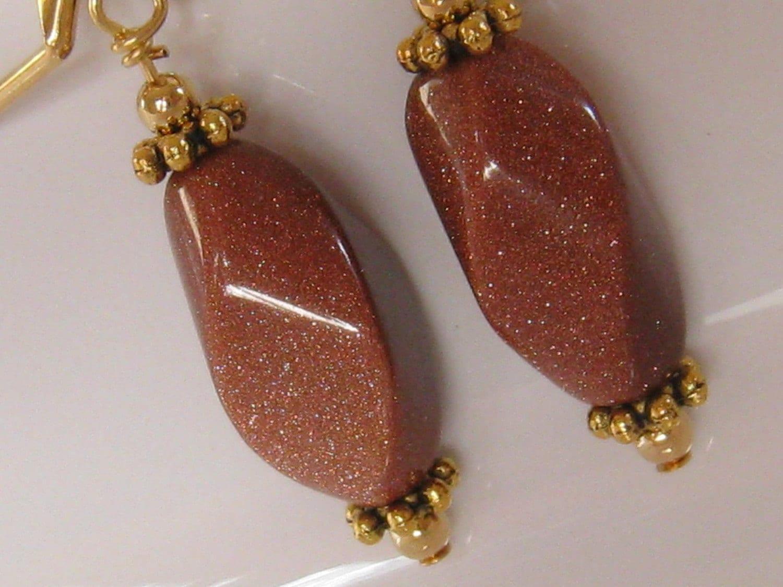 Beaded Stone Earrings Twisted Brown Goldstone Earrings Gold