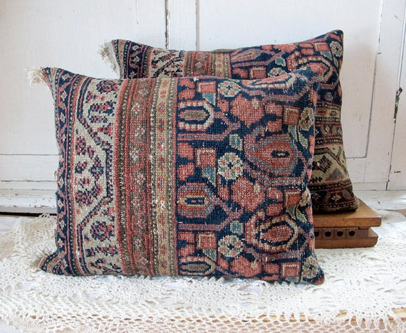 Oriental Rug Pillow, Navy and Rose No. 3