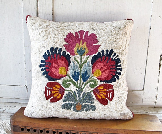 Hooked Scandinavian Eastern European Floral Pillow Eco Friendly