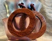 Ribbon Mahogany Wood Circle Earrings