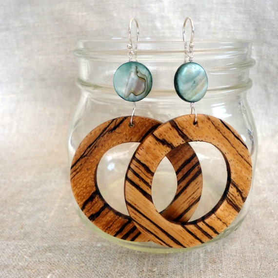 Zebrawood Circle Earrings