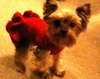 "PDF Download Knit Pattern for Sofie's Tiny Dog Knit ""Party Dress"" for Dogs Five Pounds and Under"
