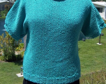 "PDF Knit Pattern for the Ridiculously Easy Short Sleeved Top - Sizes Small/Medium (32-34""/36-38"")"