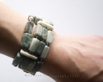 Thick Statement Bracelet in Green Marble Brick - Bricks - Art Jewelry by Sarah McTernen