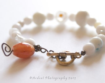 White Bracelet with Orange Accents - White Czech glass and orange agate bracelet with Toggle  - Miss Daisy - Art Jewelry by Sarah McTernen