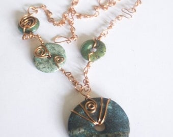 Dark Turquoise Copper Statement Necklace Asymmetrical Art Necklace with Spirals - Antiquity - Boho Chic Jewelry for the Eclectic soul