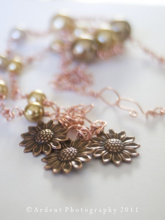 Copper Sunflowers and Pearls - Elegant Handmade Chain Necklace - Seasons of the Sun - Unique  jewelry - Art Jewelry by Sarah McTernen