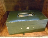 Army Green Metal Storage Box Industrial Chic
