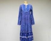 Vintage 1970s Indian Gauze Dress / Boho Festival Dress / Small