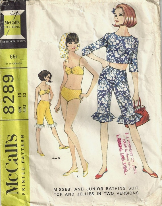 Vintage 1966 McCalls Sewing Pattern 8289 / Juniors Bathing Suit w Top and Jellies