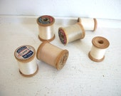 Vintage Wooden Spools of Thread- Whites