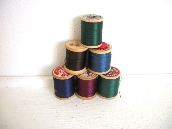 Vintage Wooden Spools of Thread- Bold Collection