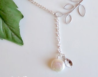 Freshwater Pearl Necklace, Leaf Necklace, Leaves Necklace, Initial Necklace, Bridesmaid Necklace, Bridal Necklace, Wedding Jewelry, Lariat