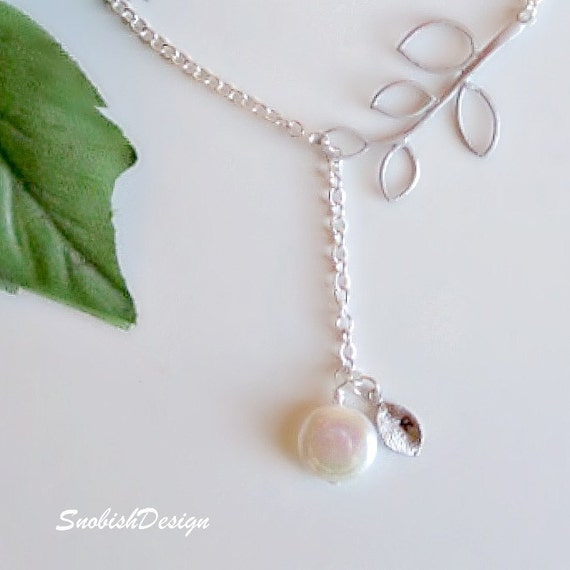 Personalized Initial Necklace, Freshwater Coin Pearl Necklace, Tree Necklace, Mothers Necklace, New Mom Gift, Friendship Jewelry, Wedding