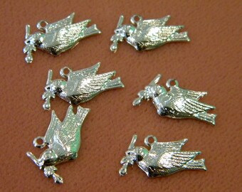 6 silver plated dove charms