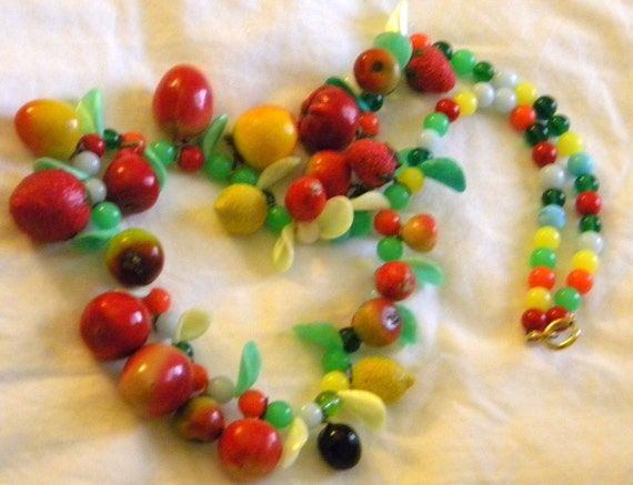 Xtra Long and Large Vintage fruit salad fake fruit multi media necklace