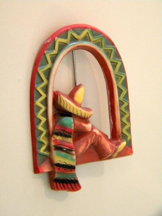 Mexican Siesta Celluloid Brooch