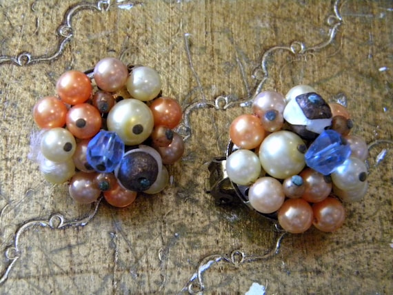 orange and blue cluster earrings
