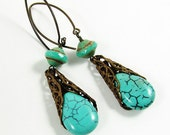 Green Turquoise and Antique Brass Earrings