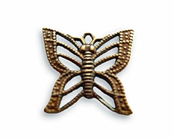2 pcs Vintaj Natural Brass Filigree Butterfly Charm- Natural Brass Jewelry Findings Craft Supplies Tools
