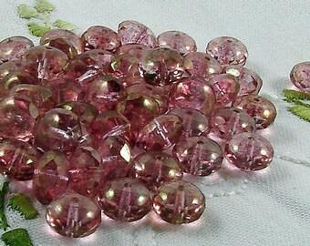 Czech Glass Beads Luster Transparent Topaz Pink Donut 11x7mm- 25 beads