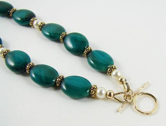 Green Czech Glass and Gold Bracelet