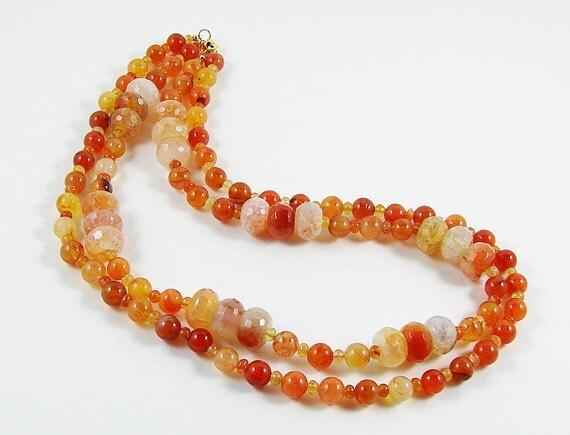 Orange Carnelian Orange Agate  Necklace Double Strand